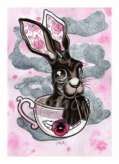 Hare & Tea cup -Tattoo flash / Watercolour A4 Art Print