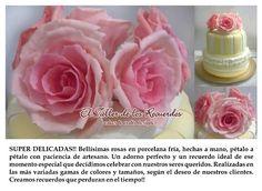 rosas artesanales en porcelana fría para adornos de torta, centros de mesa, ramos o tocados