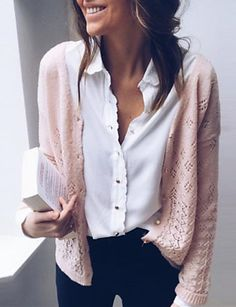 Simple 2 Colors Solid Color V-neck Sweater Tops - Work Outfits Women Trajes Business Casual, Business Casual Outfits, Professional Outfits, Business Professional, Business Attire, Work Fashion, Fashion Outfits, Womens Fashion, Fashion Top