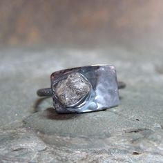 Modern Rough Diamond Solitaire and Geometric 925 by ASecondTime, $225.00