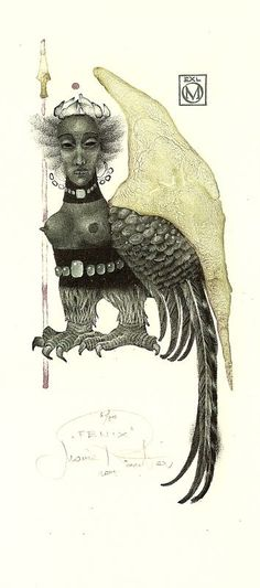 Ex libris (is she a harpy or a siren?)