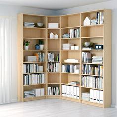Floor To Ceiling Bookshelves, Corner Bookshelves, Bookshelves In Living Room, Ikea Billy Bookcase, Library Shelves, Wall Bookshelves, Corner Shelving, Library Corner, Library Wall