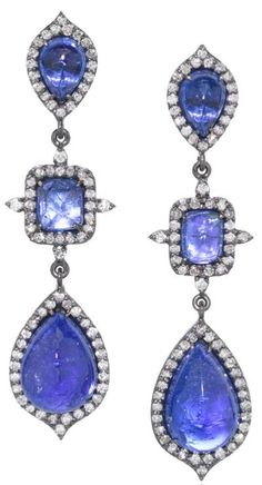 NUJ Hollywood Earrings,  India.  21st Century.  One-of-a-Kind Hollywood Earrings in 14k black gold and 14k yellow gold with six pillow-cut tanzanite and round, brilliant-cut diamond accents (2.69tcw). Listing via 1stdibs.