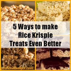 5 Ways to make Rice Krispie Treats Even Betterhttp://poshonabudget.com/2014/09/5-ways-to-make-rice-krispie-treats-even-better.html#axzz3ELi7wIr5