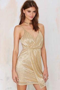 Shimmering gold dress.