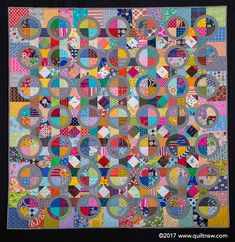Halo by Catherine Mosley. Quilter: Red Shed Quilting. Design Source: Halo by Jen Kingwell. 2017 Sydney Quilt Show. Drunkards Path Quilt, Circle Quilts, Textiles, Patchwork Patterns, Scrappy Quilts, Quilting Designs, Halo, Vibrant, Design Inspiration