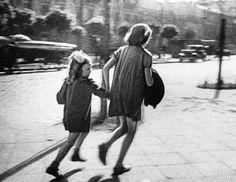 Two girls flee as Nazi planes raid Warsaw  (Sept. 16th, 1939)