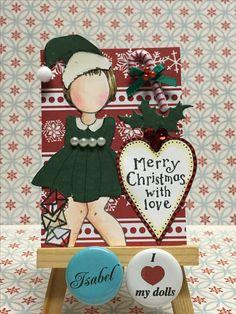 Christmas ATC, Julie Nutting dolls, Prima dolls, made and designed by Libelula Isabel