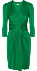 Such a pretty green | IssaRuched silk-jersey dress