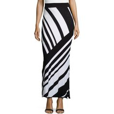 Neiman Marcus Large-Stripe Maxi Skirt ($23) ❤ liked on Polyvore featuring skirts, black and white striped skirt, black and white stripe maxi skirt, black and white striped long skirt, black and white maxi skirt y striped skirt