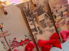 Old fashioned Christmas gift tags with glitter and ribbon