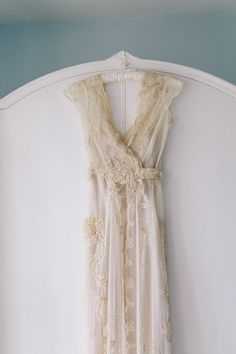 1930s inspired wedding gown made of antique lace.
