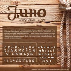 Juno foi inspirada na escrita manual com traços desunidos, gerando seu diferencial. Possui ascendentes e descendentes. Suas letras maiúsculas são mais largas que as minúsculas, já sua espessura, o contrário (maiúsculas mais lights e minúsculas com aspecto mais negrito), tendo afinamento em alguns caracteres. Com pouco contraste, suas partes se ligam por pontas amplas. Tem terminações arredondadas e sem serifas. Com aparência casual e um tamanho display, pode ser usada em diversas ocasiões.
