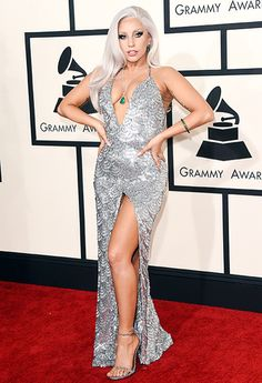 Lady Gaga is beautiful in this shimmering silver dress at #grammys2015