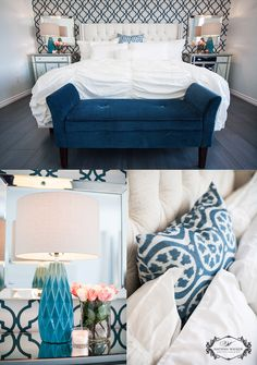 Edmonton Interior Design Nathan Walker Photography (blue, turquoise, master bedroom, wallpaper, mirrors, blue bedroom, teal)