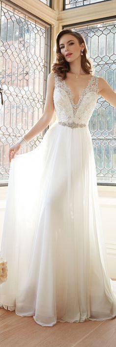 The Sophia Tolli Spring 2016 Wedding Dress Collection - Style No. Y11633 - Augusta #chiffonweddingdress