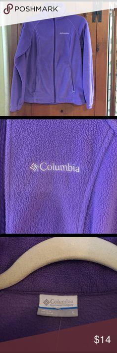 Columbia full zip fleece Gently used Columbia full front zip Cardigan. Purple fleece, small. Columbia Sweaters Cardigans