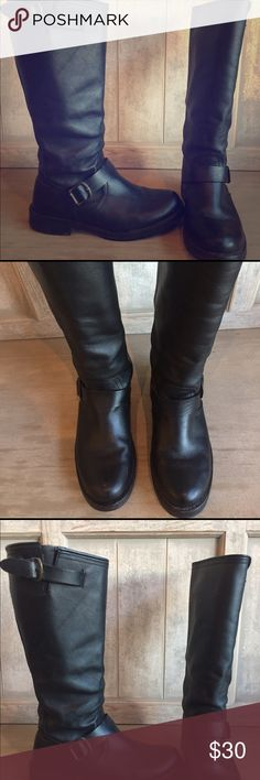 Steve Madden Black leather Moto Boots Slide in knee high Moto / Harley Boots Steve Madden Shoes Combat & Moto Boots