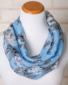 Estelle Blue Floral Print Infinity Scarf