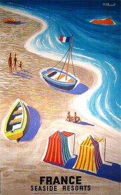 France Seaside Resorts by Bernard Villemot 1955