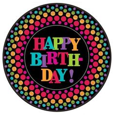 """Amscan 8 Pack Large Happy Birthday Party On Round Paper Plates Tableware 10.5"""""""