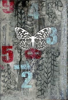 Darkness art journal page by Jill Wheeler, featuring Scrap FX products:  Tyre Track stencil, Number stamps, Lacy Butterfly and Grunge stamp. www.scrapfx.com.au