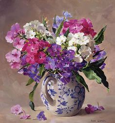 Phlox in a Blue and White Jug - Mill House Fine Art - Publishers of Anne Cotterill Flower Art Oil Painting Flowers, Watercolor Flowers, Watercolor Art, Art Floral, Flower Vases, Flower Art, Still Life Art, Botanical Art, Flower Prints