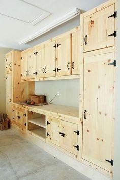 Armoire Garage, Garage Storage Cabinets, Diy Cabinets, Diy Garage Storage Shelves, Kitchen Cabinets, Farmhouse Cabinets, Farmhouse Furniture, Kitchen Storage, Garage Workshop Organization