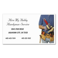 Handyman Business Card I Love This Design It Is Available For Customization Or Ready