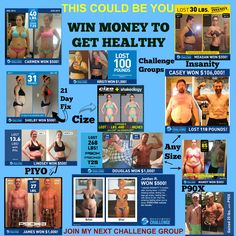 THIS COULD BE YOU!!!!!! Need proof that any one of these programs work.  Here it is and these people have one money by doing so.  As you can see their is a program for everyone.  Every single one of these people were involved in challenge groups and committed to some sort of a Beachbody program that fit their goals and fitness levels.  Beachbody has many amazing programs and they are always making it better and more time consuming for our busy lives.  janellwilson.com