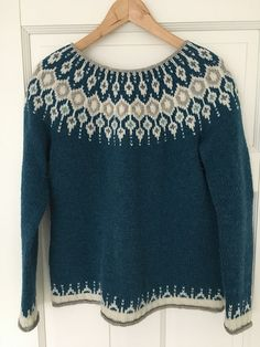Inspired by traditional Icelandic circular yoke sweaters, Telja is knit in the round from the bottom up. Short rows are worked on the back of the swea. Fair Isle Knitting Patterns, Nordic Sweater, Icelandic Sweaters, Frock Fashion, I Cord, Knitting For Beginners, Free Knitting, Knitwear, Knit Crochet