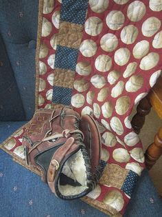 Baseball mini quilt table cloth by granniesraggedybags on Etsy, $30.00