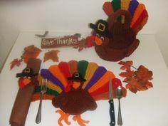 Crochet Pattern Thanksgiving Turkey Placemats by CrochetVillage