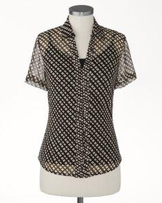Sheer lattice shirt   Coldwater Creek