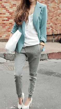 i like the light blue blazer and minus the shoes. Pair this outfit with flats instead