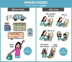 Running Errands: Without Kids vs. With Kids. (Parenting Comic by Hedger Humor for Babble) Parenting Humor Teenagers, Parenting Memes, Parenting Issues, Foster Parenting, Sherlock, Funny Quotes, Funny Memes, Jokes, 9gag Funny