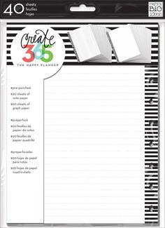 Note & Graph Paper - B&W stripes for The Happy Planner™ | me & my BIG ideas