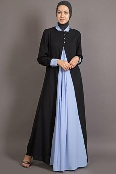 54b3962c1e Pull from neck to wear Black with Grey Blue Contrast Collar, Cuff and front  pleated yoke. Black with Grey Contrast Collar, Cuff and front pleated ...