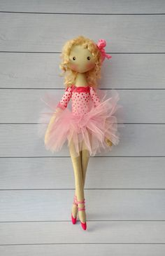 ballerina Doll Textile doll decorative by NilaDolss on Etsy