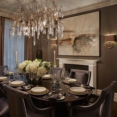 dinner table with serip chandelier