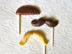 3 Chocolate Mustache Lollipops Silver by TheFrostedPetticoat, $9.00