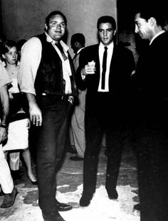 """Elvis in Hollywood, spring 1963 - with actor Dan Blocker (l) who portrayed the character, Hoss Cartwright on the TV series, """"Bonanza."""""""