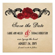 Gothic Swirl Roses Save the Date Invite, Red ShoppingReview on the This website by click the button below...