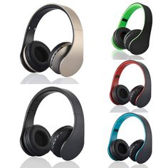 Bluetooth cordless Foldable Headset Stereo Headphone Earphones BT Casque audio w/Micro SD card solt FM radio For  Samsung Galaxy
