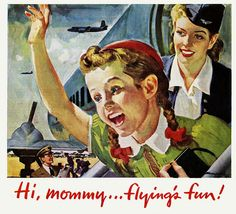 A charmingly sweet illustrated Martin Aircraft ad from 1946.