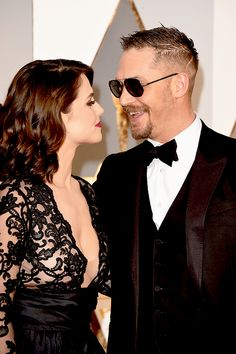 Tom Hardy and Charlotte Riley attend the 88th Annual Academy Awards at Hollywood & Highland Center on February 28, 2016 in Hollywood, California.