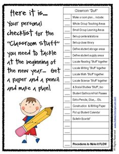 THIS IS SO AWESOME! I know for me personally, THIS is a little overwhelming to think about! classroom setup checklist