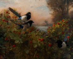 Charles Weed - Magpies and Rosehips and Blackberry Vine,  the Tight Spring of Summer Begins to Unwind. 80 x 100 cm, 2009, oil on canvas.