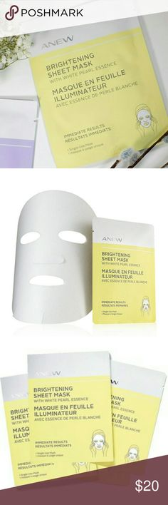 AVON ANEW Brightening Sheet Mask 4 Single-Use B038 Inspired by ancient Asian beauty rituals, the sheet masks hold a generous amount of?serum?and are designed to fit the contours of your face like a?second skin?to reduce evaporation.?Infused essences?are continuously and evenly released for?immediate?and?enhanced?benefits. For immediate lift or instant glow, use the mask? 1-2 times per week?after cleansing and before your regular skin care routine. Unfold mask carefully.Apply onto clean, dry…