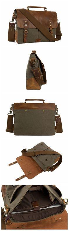 Handmade Canvas Leather Briefcase Messenger Bag Crossbody Shoulder Bag Laptop Bag